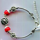 "Bracelet Red Coral And Silvertone Metal Adjustable 6.7"" to 8.25"""