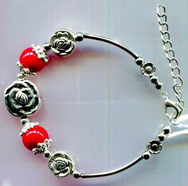 """Bracelet Red Coral And Silvertone Metal Adjustable 6.7"""" to 8.25"""""""