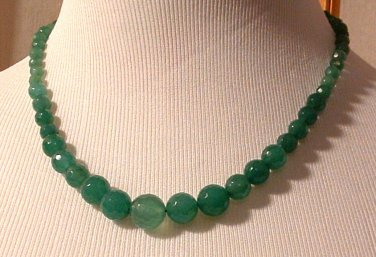 Necklace Beaded 18 inch Natural Emerald Round Faceted Graduated 6-12mm