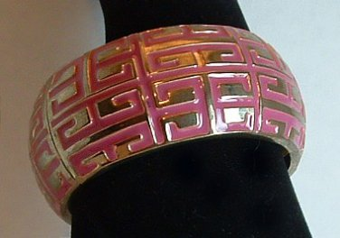 Bracelet Metal Hinged Bangle Dark Pink and Gold Tone