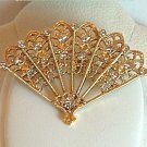 Pin - Brooch Fan Clear Stones and Goldtone