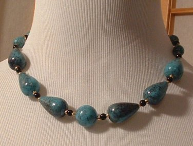 "Necklace 18 "" Faux Stone Turquoise Gold Black"