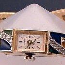 Watch Vintage 17 Jewel Rhinestone Enamel by Polcini