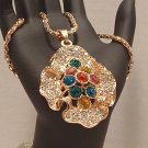 Necklace Gold Tone Metal Ruffled Multi Colored Rhinestones