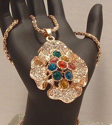Necklace Gold Tone Metal Ruffled Multi Colored Rhinestones