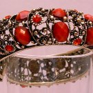 Bracelet Hinged Bangle Antique Silver Tone Open Metal With Red Stones