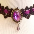 Necklace Black Crochet and Violet Velvet Ribbon With Center Accent