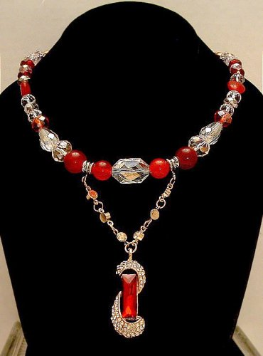 Necklace Beaded 21 inches Ruby Red and Clear Crystals With Red Dangle  Original Creation By Kim