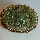 Brooch - Pin Jade Green Stone Chips in a Antiqued Gold Tone Bezel