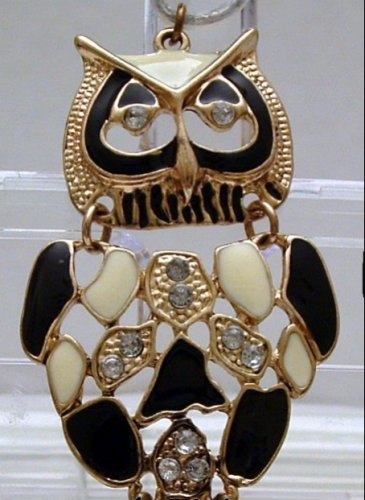 Pendant Articulated Owl Black and White Enamel and gold Tone Bezel