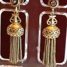 Earrings Antique Gold Tone Tassle Vintage