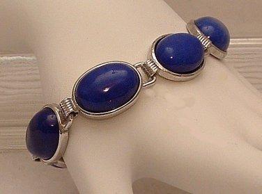 Bracelet Beaded Blue Lapis Lazuli Cabachons Silver Tone