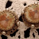 Earrings Antique Gold Tone Victorian Image Vintage