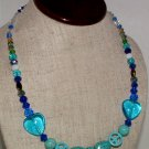 Necklace Beaded 21 inches Turquoise and Colored Crystal AB Original Creation By Kim