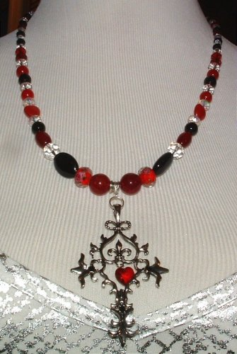 Necklace and Earrings Beaded - Necklace is  22 inches Ruby and Onyx  Original Creation By Kim