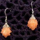 Earrings Dark Pink Quartz Silver Tone Pierced Fish Hook Vintage