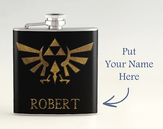 Personalized Name The Legend of Zelda Golden Triforce Liquor Hip Flask Stainless Steel 6 oz FK-0412