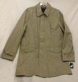 NWT Men's S (38-40) NAUTICA Khaki (Hemp) Overcoat Topcoat Rain Zip Trench J23303