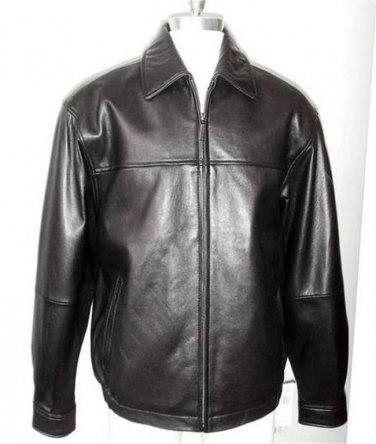 NWT 110235 Boston Harbour Men Med Black Top Grain Lambskin Leather Bomber Jacket