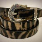 "30"" B3140Z Brighton Ave Etched Zebra Stripe Patent Leather Silver Plate Belt NWT"