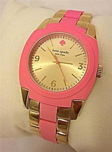 Kate Spade NY Wrist Watch Skyline 1YRU0163 Pink Silicon Gold Ladies Quartz NWT