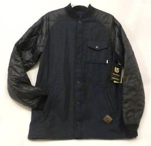Burton Mens Medium Ackley Flannel Navy Blue Black Down Ragland Sleeve Jacket NWT
