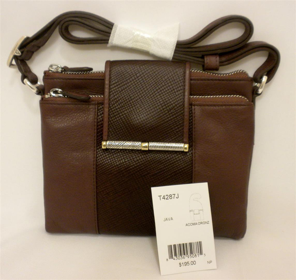 Brighton ACOMA Wallet Organizer Crossbody Bag Java Brown Leather T4287J NWT