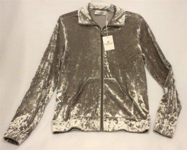 NWT Bugatchi Womens Medium Taupe Pewter Crushed Velvet Zip Jacket AL210E1