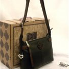 Brighton Izzy Messenger Bag Black & Chocolate Leather Contempo Swirl H92279 New
