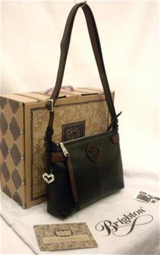 Brighton Izzy Messenger Bag Black & Chocolate Leather Contempo Swirl H92279 NWT