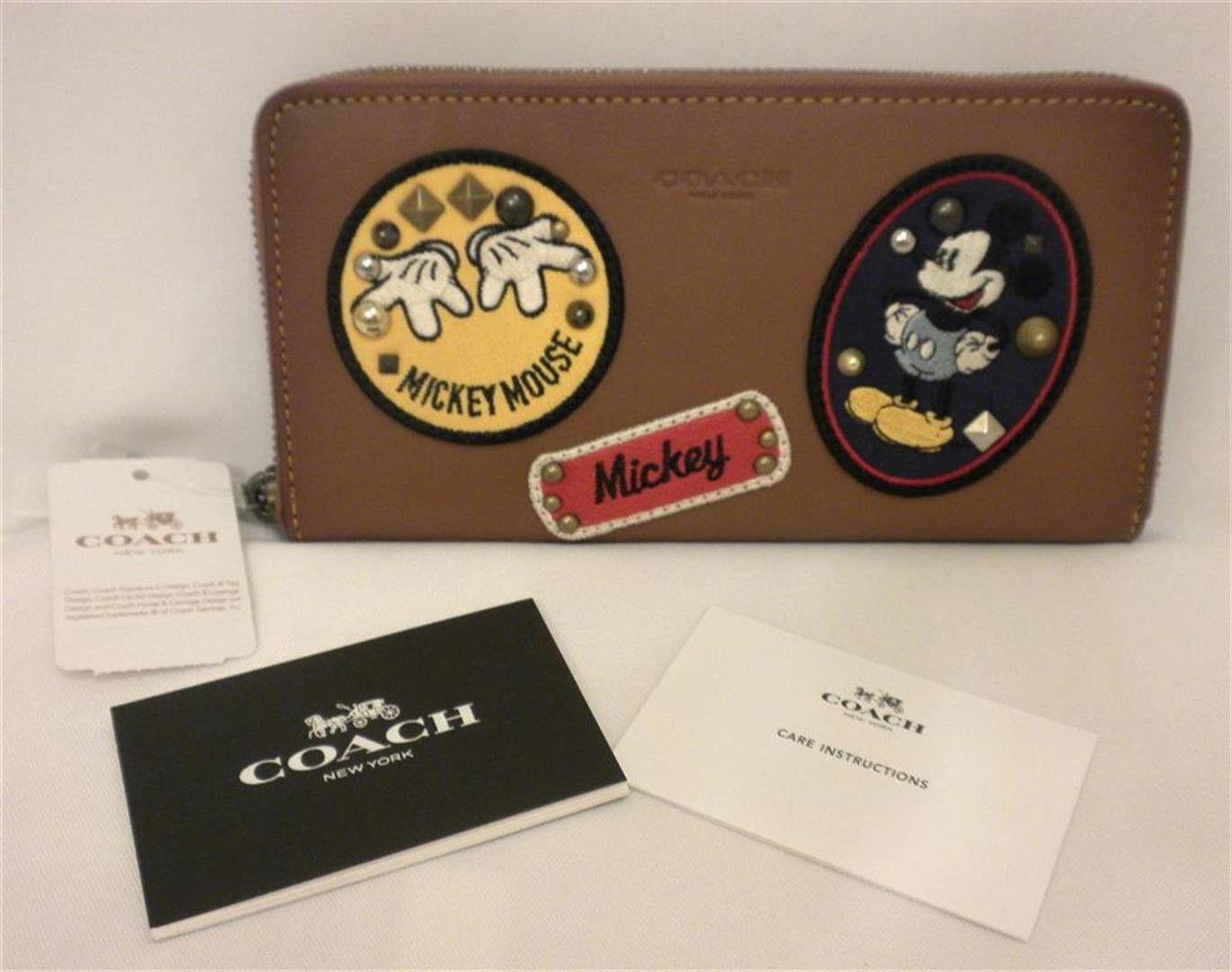 NWT Coach X Disney Accordion Zip Mickey Patch Wallet/ Phone case Saddle Brown F59340