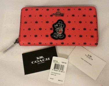 NWT Coach X Disney Accordion Zip Mickey Wallet/ Phone case Prairie Red Bandana F59340
