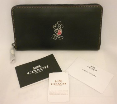 NWT Coach X Disney Accordion Zip Mickey Black Leather Wallet/ Phone case F58939