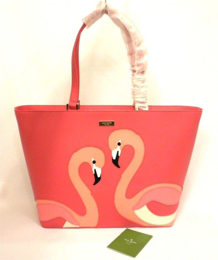 Kate Spade Take A Walk On The Wild Side Flamingo Jules Pink Leather Zip Tote