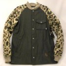 "Burton Men's XL Ackley Flannel Gray / Camouflage ""Ash Heather"" Down Ragland Sleeve Jacket New"