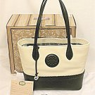 Brighton H35743 Flavia Colorblock Cream White Black Medallion Leather Tote Ferrara Collection New