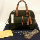 DOONEY & BOURKE Cambridge Black/Brown Leather Dome Pocket Convertible Tassel Zip Satchel 0646 New