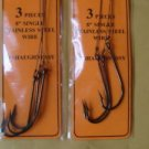 BLUEFISH RIGS 2 X 3/PACK Snelled Hook SIZE 5/0  STAINLESS STEEL WIRE 6 PCS