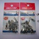 Eagle Claw CRANE  SWIVELS BLACK sz3   2 packs of 12