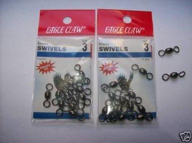 Eagle Claw CRANE  SWIVELS BLACK sz 3 - 3 packs of 12