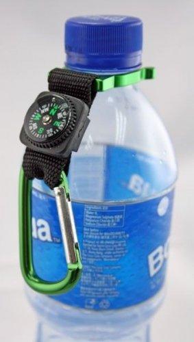 2 X CARABINIER WATER BOTTLE HOLDER CLIP STRAP w COMPASS