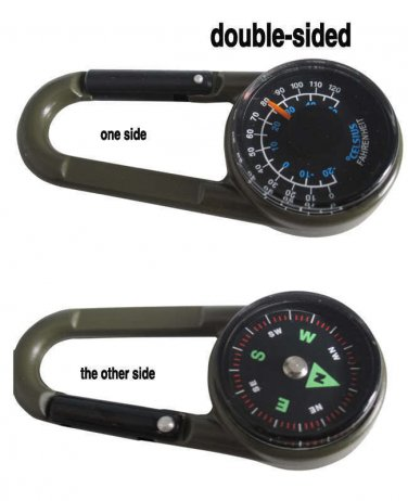 Compass Thermometer Hiking Outdoor Travel Carabiner Key 2 pack