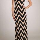 Womens Medium Dress Brown Maxi Chevron Dress Soul of the Sea ~~~~~~~~