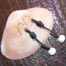 Large Hole Pearl and Leather Earrings Silver Plated Hand Made In The USA E200 Soul of the Sea