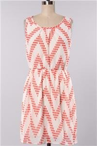 Womens Large Dress NWT Large Coral Chevron Dress Lined
