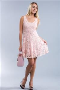 Womens Large Dress NWT Lined Pink Lace Summer Dress ~