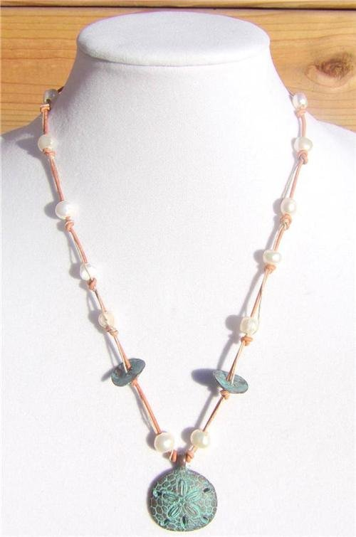 Freshwater Pearls and Leather Necklace Greek Green Patina Sand Dollar Beach 503~