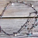 Freshwater Pearls and Leather Necklace Greek Green Patina Sea Charms Shells 508~