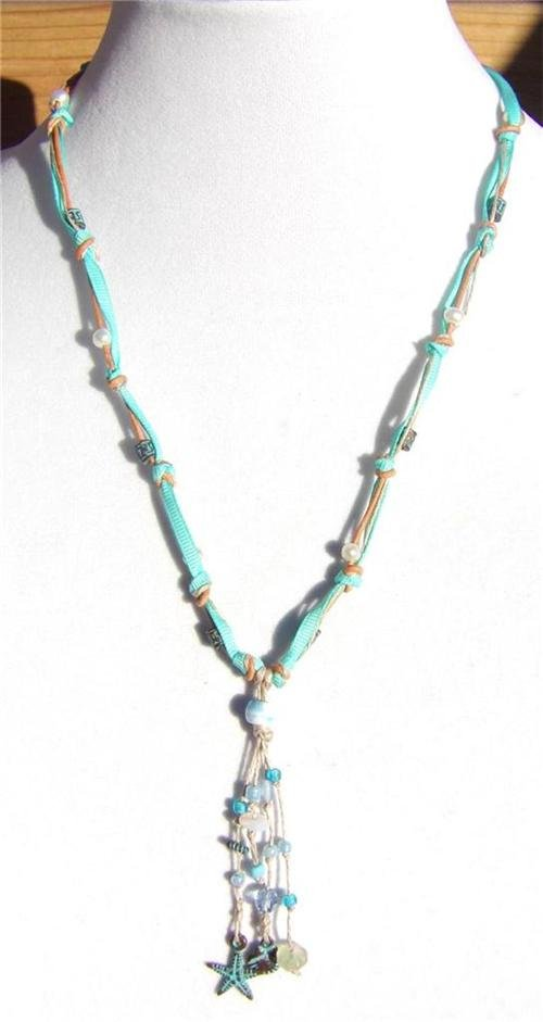 Freshwater Pearl and Leather Necklace Green Patina Shell Star Fish Charms 515 ~