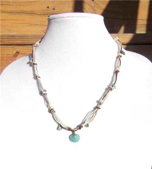 Freshwater Pearl and Leather Necklace Greek Green Patina Shell Charms Beach 517~